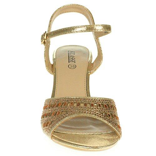 AARZ LONDON Women Ladies Crystal Diamante Evening Wedding Party Prom Bridal Peeptoe High Heel Sandals Shoes Size Champagne bXXxgUU