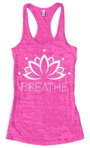 Threadrock Women's Breathe Lotus Flower Burnout Racerback Tank Top M Hot Pink