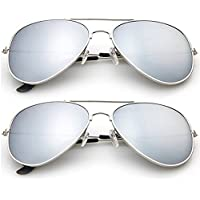2-Pack Designer-Inspired Mirrored Aviators Sunglasses (Silver)