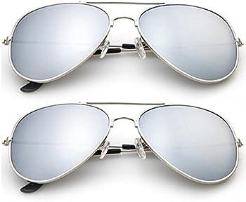 2-Pk. Designer-Inspired Mirrored Aviators Sunglasses