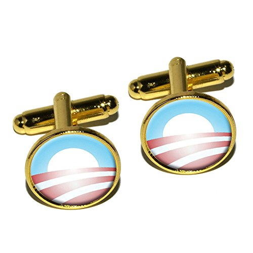 Round Logo Cufflinks (Graphics and More Obama Logo Round Cufflink Set - Gold)