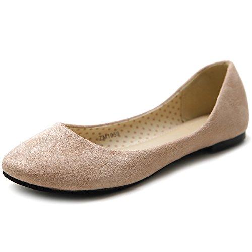 Suede Flat Ollio Shoe Multi Faux Beige Women's Ballet Color qgwfw7U1x