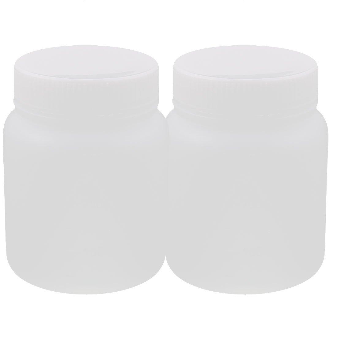 sourcingmap/® 2stk 300ml Kunststoff rund breit Mund chemische Probe Reagenz Flasche Verdickung DE de