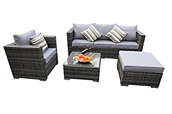 rattan garden furniture cover. Yakoe Rattan 5Seater Garden Furniture Sofa Table Chairs Set With Fitting Cover N