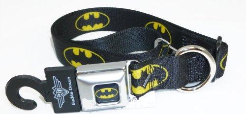 Batman Seat Belt Buckle Dog Collar 1″ 15-26″, My Pet Supplies