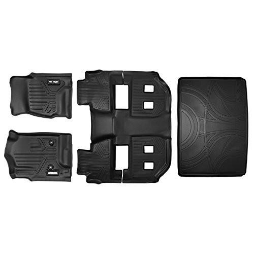 Seat Suburban 3rd Chevy (SMARTLINER Floor Mats 3 Rows and Cargo Liner Behind 3rd Row Set Black for 2015-2018 Chevy Suburban / GMC Yukon XL)