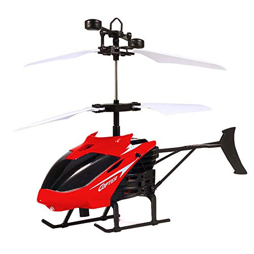 ❤Lemoning❤ Flying Mini RC Infraed Induction Helicopter Aircraft Flashing Light Toys for Kids (red)