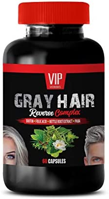 Grey Hair Vitamins for Men – Gray Hair Reverse Complex – Natural Solution – Powerful Results – 1 Bottle 60 Capsules