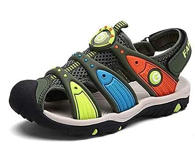 DADAWEN Boy's Girl's Summer Outdoor Breathable Athletic Closed-Toe Sandals Sport Strap Sandals (Toddler/Little Kid/Big Kid) Green US Size 8.5 M Toddler