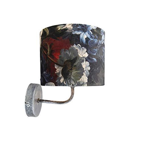 QAZQA R/étro Applique murale vintage gris antique avec abat-jour velours fleurs et or 18//18//14 M/étal//Tissu Gris,Dor/é Rond E27 Max 1 x 60 Watt//Luminaire//Lumiere///Éclairage//int/érieur//Salon //