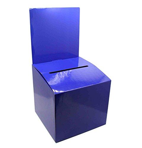 FixtureDisplays Set of 7 Cardboard Ballot Box with Removable Header, Slanted Top - Blue 119614-7PK by FixtureDisplays