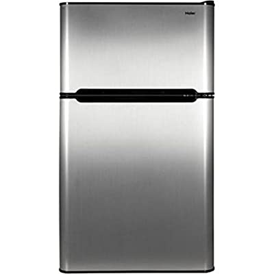 Haier 3.2 cu ft Refrigerator, Stainless Steel 2-Door for Dorm, Garage, Camper, Gameroom, Basement or Office with Separate Freezer Compartment for Cold Food Storage and Frozen Meals