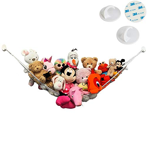 Large Stuffed Animal Toy Hammock - NO Drilling, 3M Adhesive Hooks - Nursery Hanging Organizer, Storage Net Holder for Toys, Dolls & More - by Jool Baby