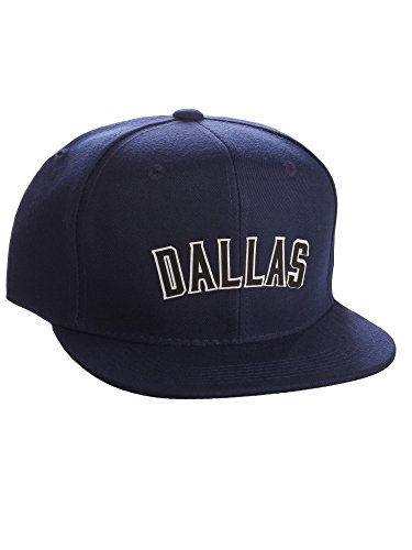 Original Snapback Custom American Cities State Letters Ajustable Flat Visor Cap (Dallas Navy, White Black)