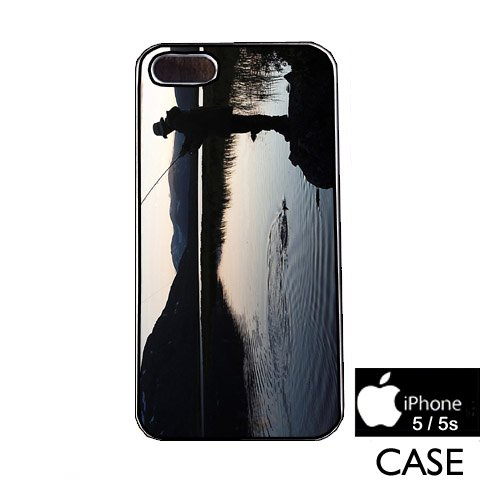 Fly Fishing Scenic Nature Photo iPhone 5 / 5s WHITE FRAME hard plastic cell phone Case / Cover Great Gift Idea