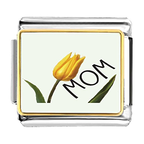 GiftJewelryShop Gold Plated November Yellow Tulip and Mom Bracelet Link Photo Italian Charm
