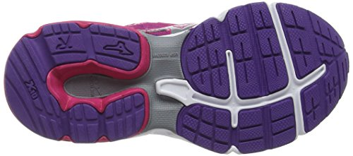 Mizuno Wave Rider 19 Jnr - Zapatillas de running para chicos Púrpura (FuchsiaPurple/Silver/RoyalPurple)