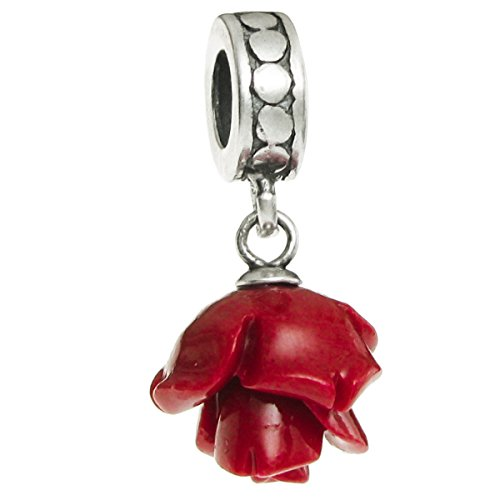 Sterling Silver Simulated Coral Red Rose European Style Dangle Bead (Silver Rose Flower Charm)