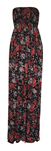 Aztque Lopard Sheering Fast Tribal rouge Fashion Maxi noir Animal De Femme Boobtube De Robe Impression pxCtf8wq