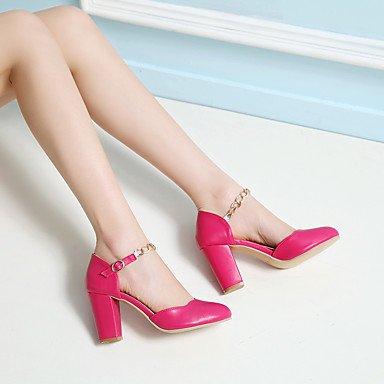 LvYuan Mujer-Tacón Robusto-Zapatos del club-Sandalias-Oficina y Trabajo Vestido Fiesta y Noche-PU-Azul Rosa Blanco Melocotón Blue