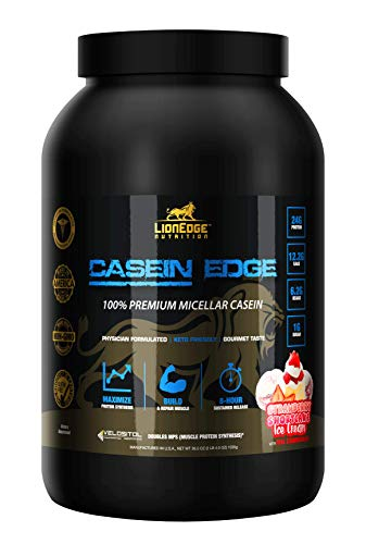 (LionEdge Nutrition - Casein Edge 100% Premium Micellar Casein Protein Powder | Strawberry Shortcake Ice Cream | 30 Servings | Keto Friendly | Build & Repair Muscle | Curb Appetite & Sugar Cravings)