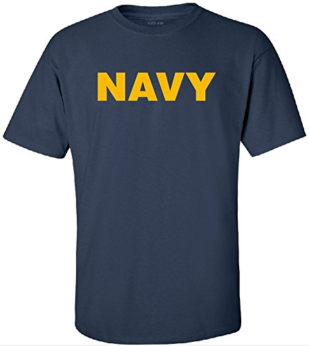 Joe's USA Military T-Shirts - Navy Logo Logo T-Shirts In Large (Tee T-shirt Navy)