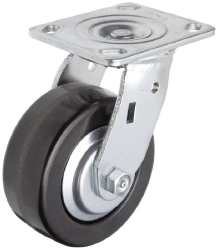 """RWM Casters 46 Series Plate Caster, Swivel, Thread Guard, Phenolic Wheel, Roller Bearing, 1000 lbs Capacity, 5"""" Wheel Dia, 2"""" Wheel Width, 6-1/2"""" Mount Height, 4-1/2"""" Plate Length, 4"""" Plate Width from RWM Casters"""