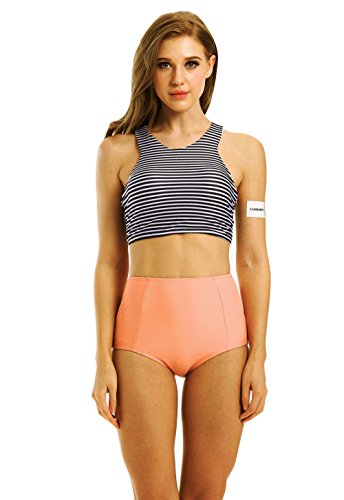 Creabygirls Womens High Waist 2 Piece Bikini Swimsuit Spa Swimsuit(Large)
