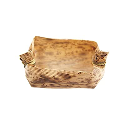 "BambooMN 2.6"" x 1.8"" x 1"" Premium Bamboo Leaf Capsule, All Natural Disposable Compostable for Catering and Home Use"