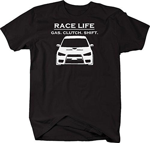 Race Life - Gas Clutch Shift - Racing Mitsubishi EVO Turbo JDM Tshirt - Medium Mitsubishi Turbos