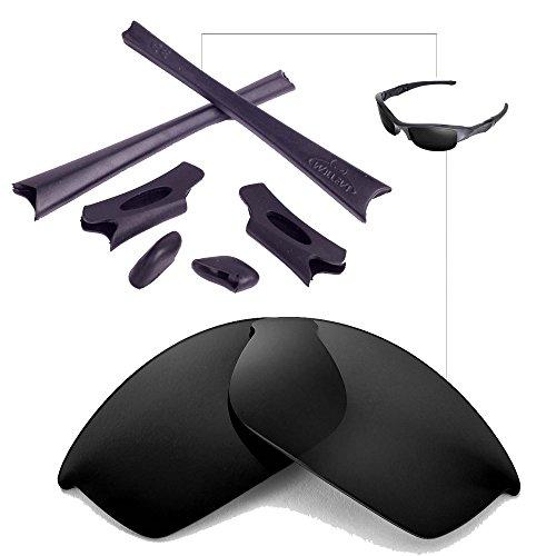 Walleva Polarized Lenses And Rubber Kit(Earsocks+Nosepads) For Oakley Flak Jacket (Black Polarized Lenses + Black - Kit Flak Jacket Accessory Oakley