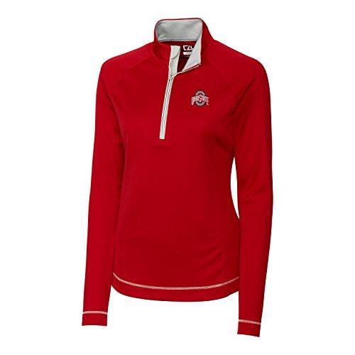 (Cutter & Buck NCAA Ohio State Buckeyes Women's Long Sleeve Evolve Half Zip Jacket, Large, Cardinal Red)