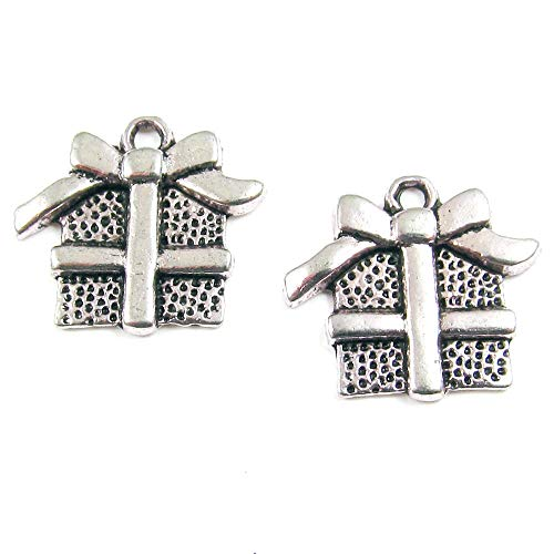 Silver Wrapped Gift Box - Silver Wrapped Present Metal Charm, Holiday Gift Box with Bow (20 Pieces)