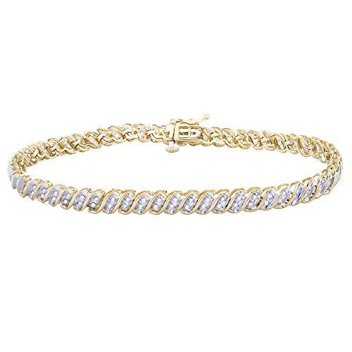"Brilliant Designers 14K Yellow Gold & 1/2 CTTW Diamond (HI/I1) ""S"" Bracelet (Diamond Gold Designer Bracelets)"