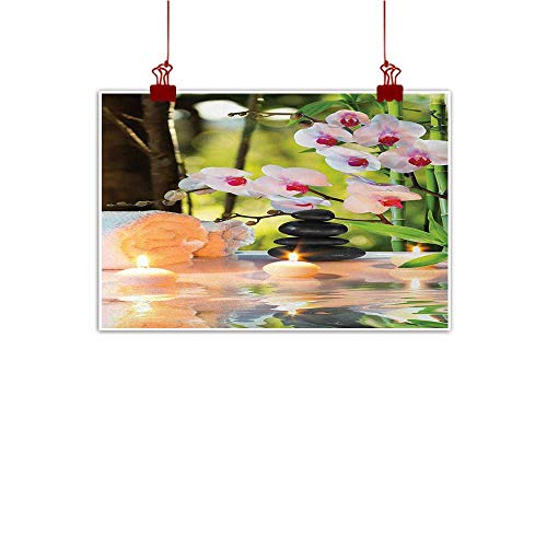 Davishouse Spa Light Luxury American Oil Painting Massage Composition Spa Theme with Candles Orchids and The Stones in Garden Home and Everything 24