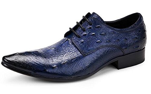 Happyshop(TM) Crocodile Mens Derby Shoes Lace-ups Winklepickers Pointed Toe Leather Shoes Blue