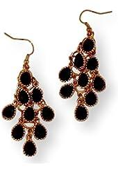 Fashion Earrings Chandelier Black Stone On Gold Tone Metal