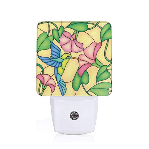 (Colorful Plug in Night,Stained Glass Style Bird and Hibiscus Tropical Flora and Fauna Illustration,Auto Sensor LED Dusk to Dawn Night Light Plug in Indoor for Childs Adults)