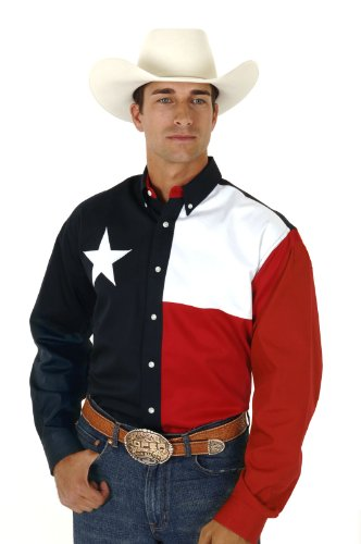 Roper Men's Texas Flag Shirt Navy (Star Flag Shirt)