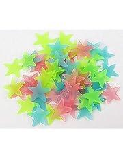 100 قطعة من ملصقات الحائط المضيئة في الظلام النجوم ثلاثية الأبعاد لتزيين السقف بنجوم ساطعة لغرفة نوم الأطفال