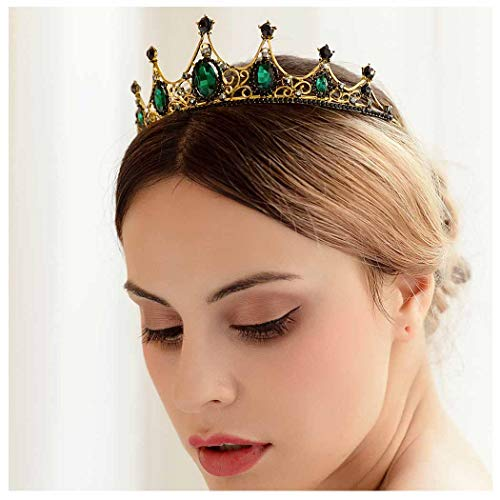 Yfe Wedding Bridal Crown Tudor Crown Tiara Emerald Crystal Crown Headband for Women PROP Crown]()
