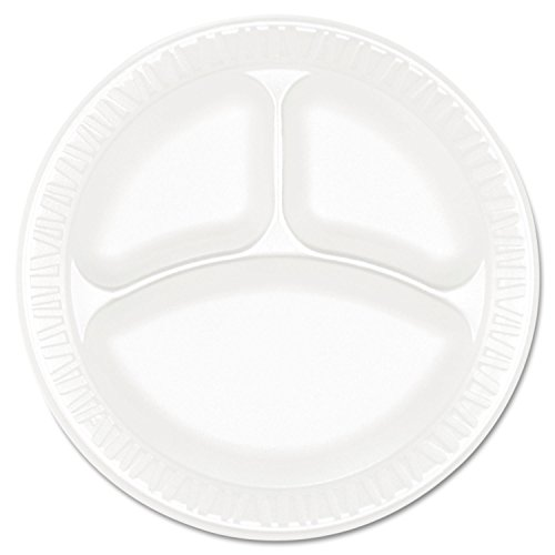 Dart 9CPWCR 9 in White Unlaminated Foam 3 Comp Plate (Case of 500)