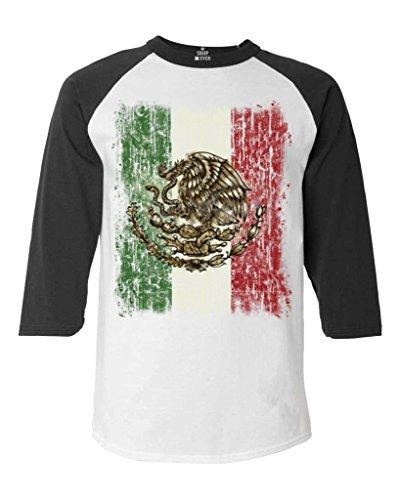 Shop4Ever Mexico Flag Distress Baseball Shirt Cinco de Mayo Raglan ShirtMedium White/Black 13615 ()