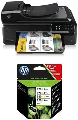 HP Officejet 7500 A Pack - Impresora multifunción de tinta + Pack de 4 cartuchos de tinta original XL, negro, cian, magenta y amarillo (920)