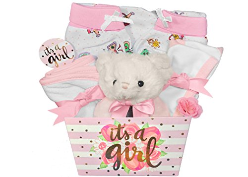 Baby Gift Basket for a Girl - 8 Piece Teddy Bear Baby Shower Gift Set (Booties Onesie Cap)