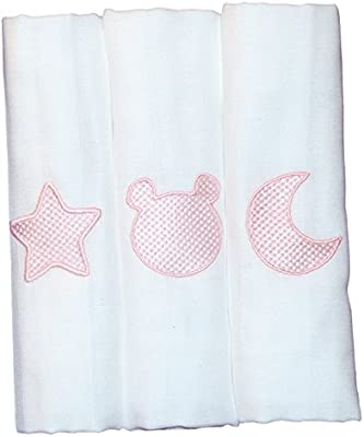 Pack de 3 Gasas Muselinas Bordada para Bebé, 100% algodón - Rosa ...