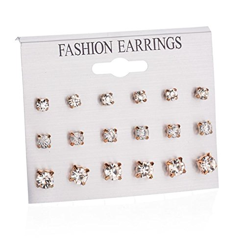 UMFun Fashion Earrings Set Combination Of 9 Sets Of Heart-shaped Earrings Jewelry Gift ()