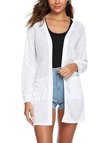 URRU Women's Fishon Lightweight Open-Front Cardigan Sweater with Pock White XL