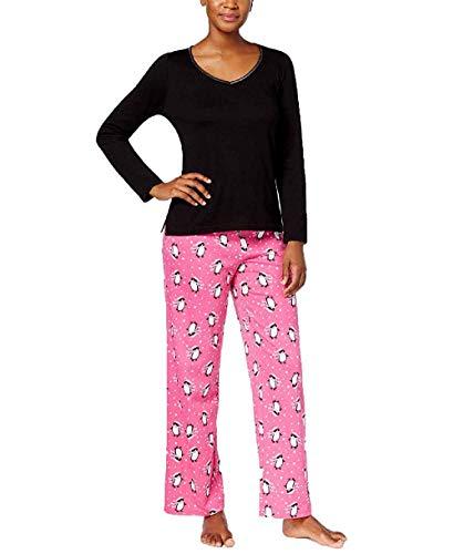 Charter Club Graphic Top & Printed Pants Pajama Set (Small, Pretty ()