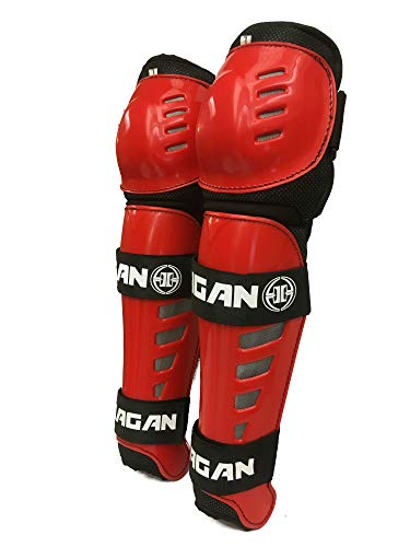 Hagan H-5 PRO Shin Guards for DEK Street and Ball Hockey (RED, Senior (Adjusts 13
